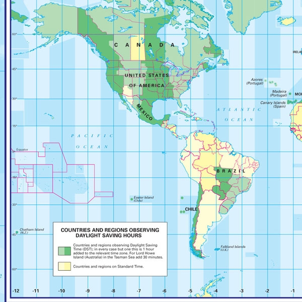 Map Of Uk Time Zones.World Time Zone Map 1 To 30 Million Educational Wall Maps