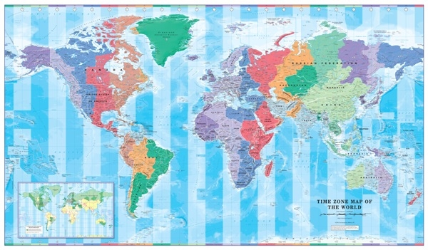 World Time Zone Map 1 to 30 million - Educational - Wall Maps ...