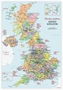 British Isles Political Wall Map A3