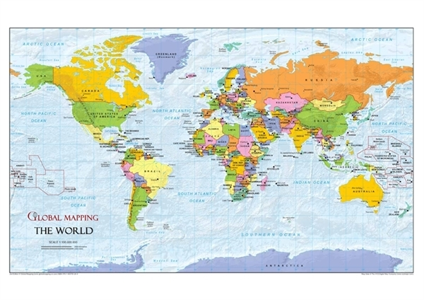 world political a3 political world wall maps. Black Bedroom Furniture Sets. Home Design Ideas
