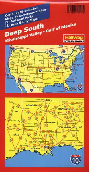 No 10 Deep SouthLocal Road Maps - Hallwag International Maps, Atlas Deep South Usa Map on