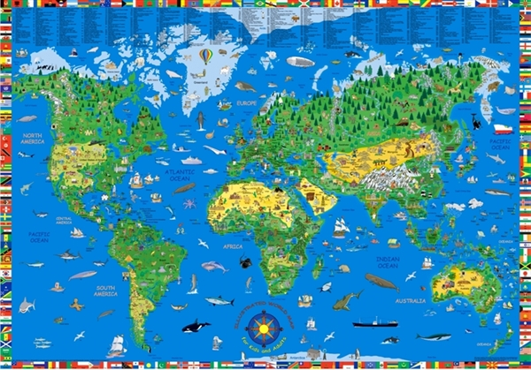 Illustrated childrens world large map childrens wall maps illustrated childrens world large map childrens wall maps posters kruger and schonhoff maps atlas travel guides mapsonline gumiabroncs Images