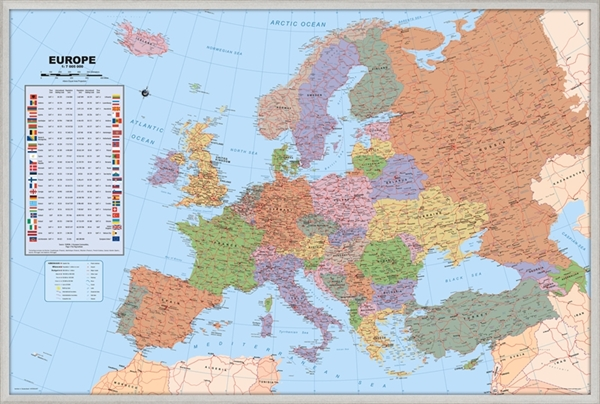 Europe Pinboard Map With Silver Wood Frame Political World: Map Of Europe Pinboard At Infoasik.co