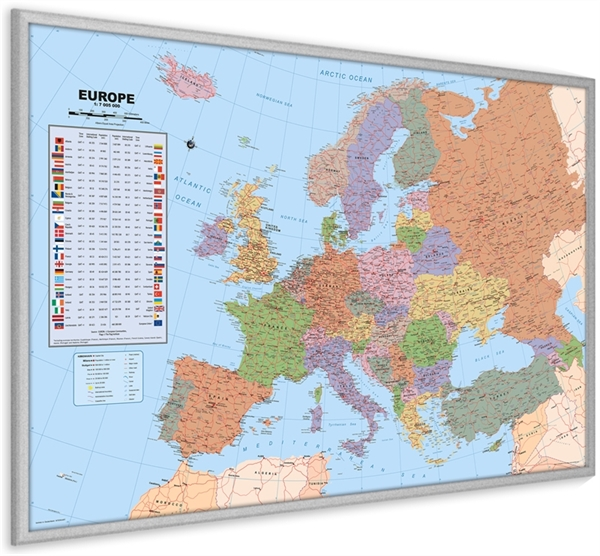 Europe pinboard map with silver wood frame political world europe pinboard map with silver wood frame political world wall maps posters outstanding maps atlas travel guides mapsonline gumiabroncs