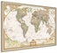 Pinboard World Map NG - Antique style with real wood frame