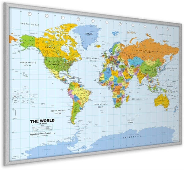 World pinboard map with silver wood framewall maps large world world pinboard map with silver wood framewall maps large world map posters outstanding maps atlas travel guides gumiabroncs Images