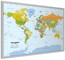 Pinboard World Map - Silver wood frame