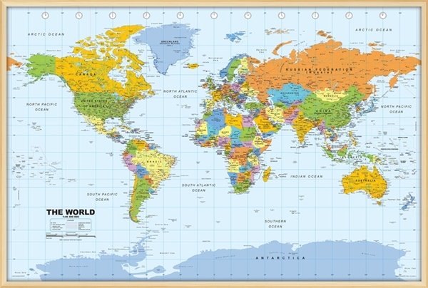 World pinboard map with light wood frame world framed maps world pinboard map with light wood frame world framed maps outstanding maps atlas travel guides mapsonline gumiabroncs Images