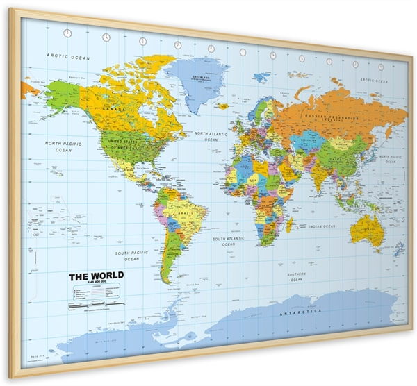 World Pinboard Map With Light Wood Frame World Framed Maps - World maps online