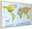 Pinboard World Map - Light wood frame